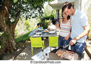 griglia, cottura, carne, barbecue famiglia