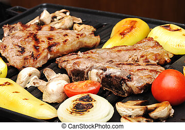 griglia, differente, carne, manzo, verdura, apparecchiato, funghi, barbecue