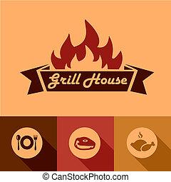 griglia, elementi, disegno, casa
