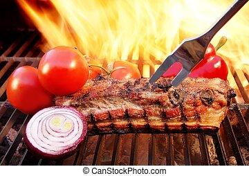 griglia, fiamme, costole, brisket, xxxl, barbecue, carbonella