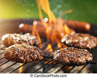 griglia, fiammeggiante, cottura, hamburger, hotdogs