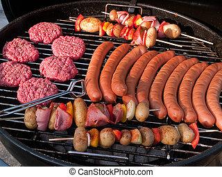 griglia, fuori, festa, bbq, barbeque