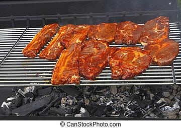 griglia, giardino, bbq, .pork