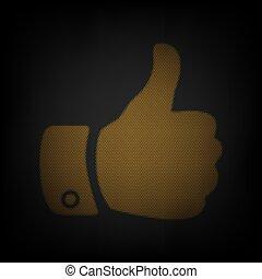 griglia, icona, piccolo, darkness., illustration., luce arancia, mano, bulbo, segno