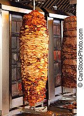 griglia, kebab, verticale, rotisserie
