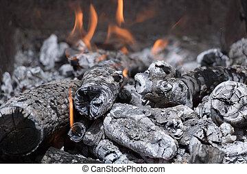 griglia, legna ardere, urente