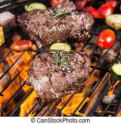 griglia, manzo, bistecche