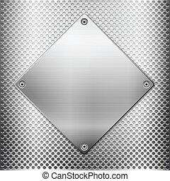 griglia metallo, e, quadrato, piastra