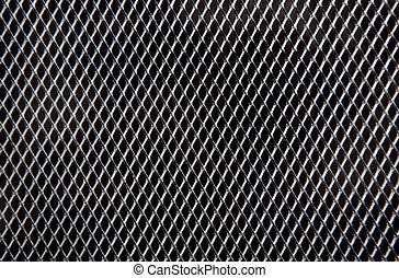 griglia metallo, su, sfondo nero