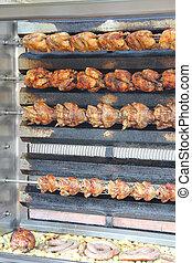 griglia, pollo, arrostito