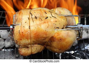 griglia, pollo, rotisserie