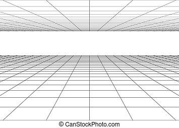 griglia, prospettiva, fondo, pavimento