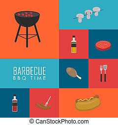 griglia, set, icone, concept., tempo, barbecue, bbq