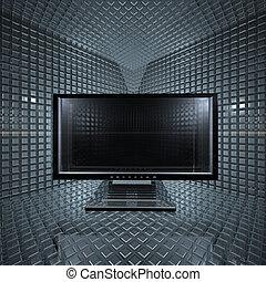 griglia, stanza, monitor