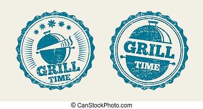 griglia, vendemmia, menu, illustrazione, stamp., vettore, sigillo, barbecue, bistecca, bbq