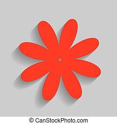 grijs, bloem, illustration., meldingsbord, achtergrond., vector., schaduw, zacht, rood, pictogram