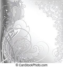 grijs, bloemen, achtergrond