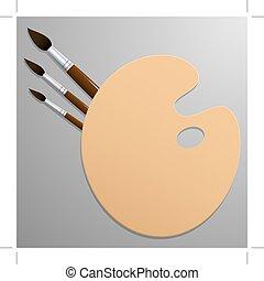 grijs, brushes., image., achtergrond., palet, verf , vector