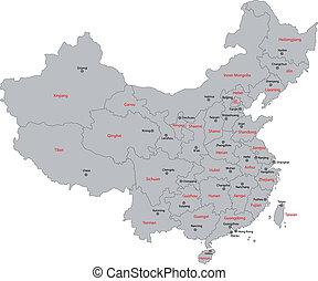 grijs, china, kaart
