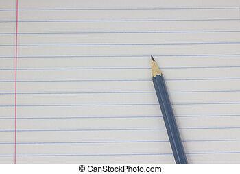 grijs, close-up, potlood, concept., school, back, achtergrond, witte , opleiding
