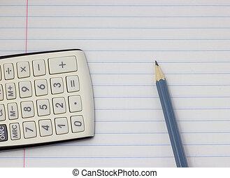 grijs, concept, potlood, rekenmachine, school, back, achtergrond, witte , opleiding