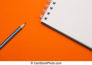 grijs, concept, potlood, school, back, achtergrond, sinaasappel, opleiding