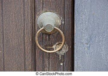 grijs, deur, houten, wicket, oud, plank, ijzer, handvat, ronde