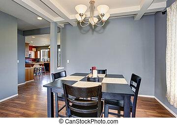 grijs, dinning, kamer, simplistic, walls.