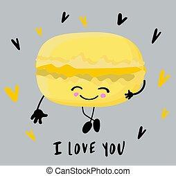 grijs, eyes, background.., macaroon, taart, glimlachen