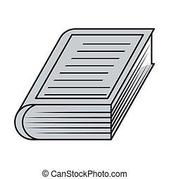 grijs, gestreepte , boek, silhouette, dekking