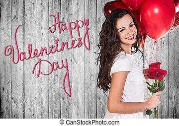 grijs, houten, valentines, muur, dag, vrolijke
