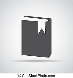 grijs, illustratie, achtergrond., vector, schaduw, boek, pictogram