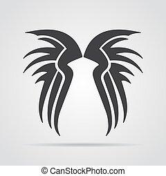 grijs, illustratie, achtergrond., vector, schaduw, vleugels, pictogram