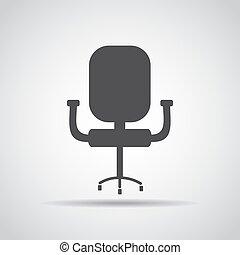 grijs, illustratie, achtergrond., vector, stoel, schaduw, pictogram