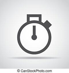 grijs, illustratie, achtergrond., vector, stopwatch, schaduw, pictogram