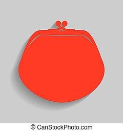 grijs, illustration., buidel, meldingsbord, achtergrond., vector., schaduw, zacht, rood, pictogram