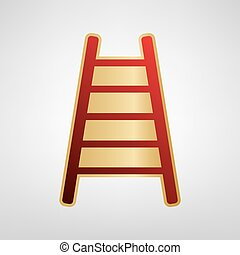 grijs, illustration., gouden licht, ladder, meldingsbord, achtergrond., vector., sticker, rood, pictogram