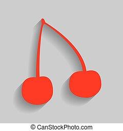 grijs, illustration., kers, meldingsbord, achtergrond., vector., schaduw, zacht, rood, pictogram