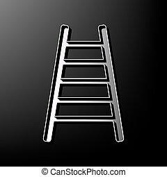 grijs, illustration., ladder, meldingsbord, achtergrond., black , bedrukt, vector., 3d, pictogram