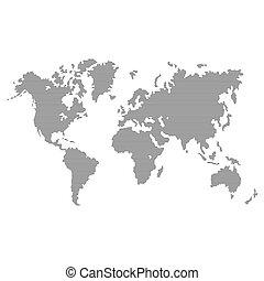 grijs, kaart, achtergrond., vector, wereld, gestreepte , witte