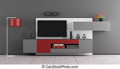 grijs, kamer, levend, tv, -, vertolking, rood, 3d