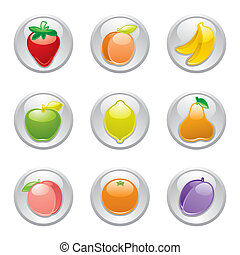 grijs, knoop, vruchten