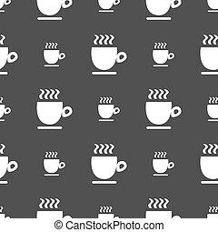 grijs, koffiekop, model, teken., seamless, achtergrond., vector