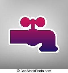 grijs, kraan, illustration., achtergrond., paarse , meldingsbord, water, helling, papier, vector., witte , pictogram