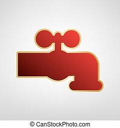 grijs, kraan, illustration., gouden licht, sticker, meldingsbord, water, achtergrond., vector., rood, pictogram