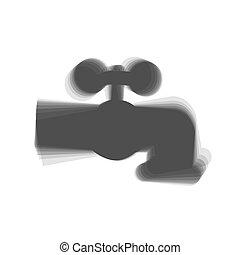 grijs, kraan, illustration., meldingsbord, water, achtergrond., shaked, vector., witte , pictogram