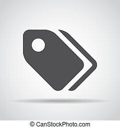 grijs, label, illustratie, achtergrond., vector, schaduw, pictogram
