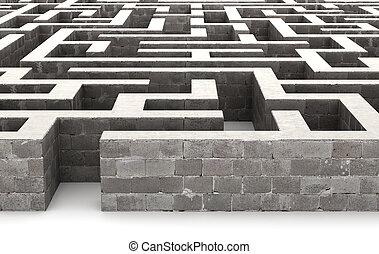 grijs, labyrint, concept., het oplossen, illustratie, 3d, probleem