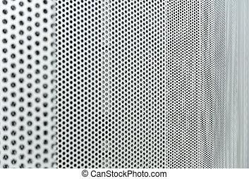 grijs, metaal, textuur, achtergrond, geperforeerde, ronde