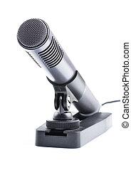 grijs, microfoon, condensator, stander